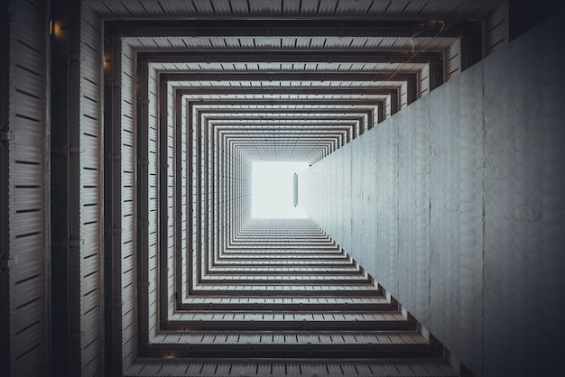 Isometric square bottom view from inside building. Premium Photo
