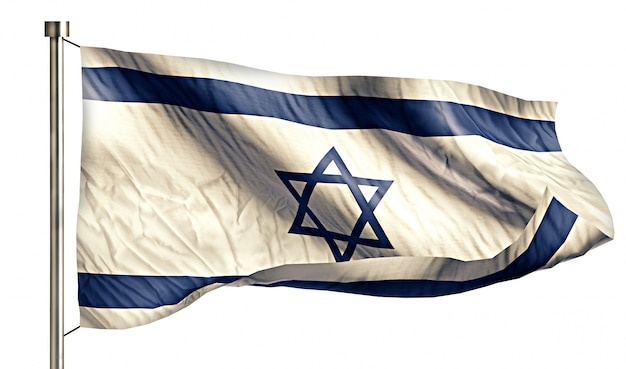 Israel national flag isolated 3d white background Free Photo