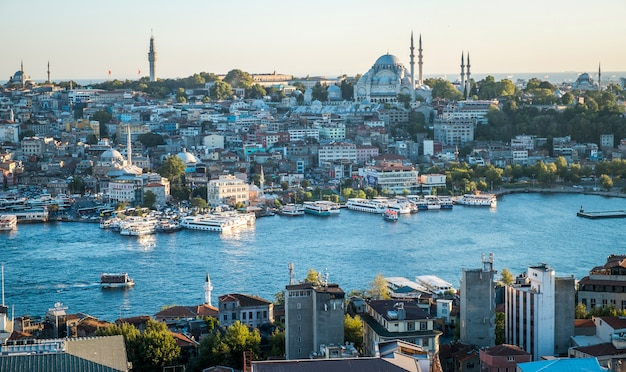 Istanbul city turkey top view panorama with river - eastern tourist city istanbul bosphorus at evening port bay turkey Premium Photo