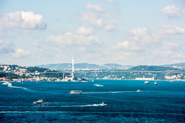 Istanbul's ocean scene with cruise ship Free Photo