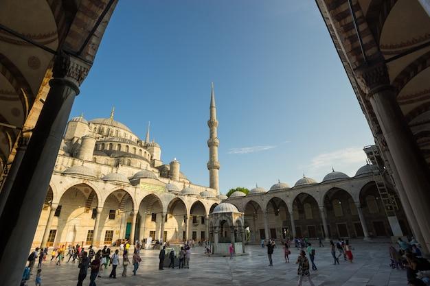 Istanbul turkey - june 10, 2015: entrance to the blue mosque, istanbul, turkey. blue mosque has an official name 'sultanahmet'. Premium Photo