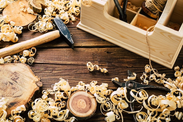 Do it yourself wood. woodworking workshop. diy. wood shavings and carpentry tools. copy space. high quality photo Premium Photo