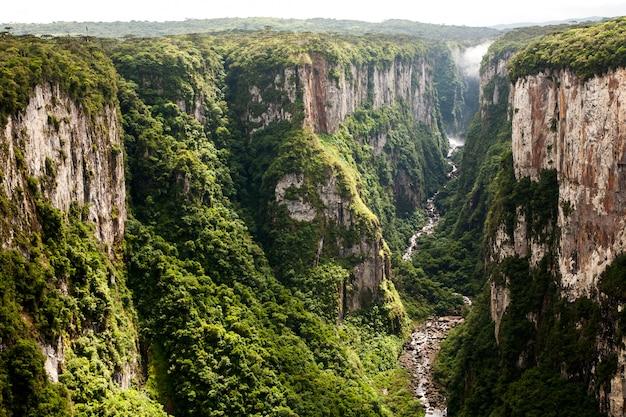 Itaimbezinho canyon cliffs in southern brazil Premium Photo