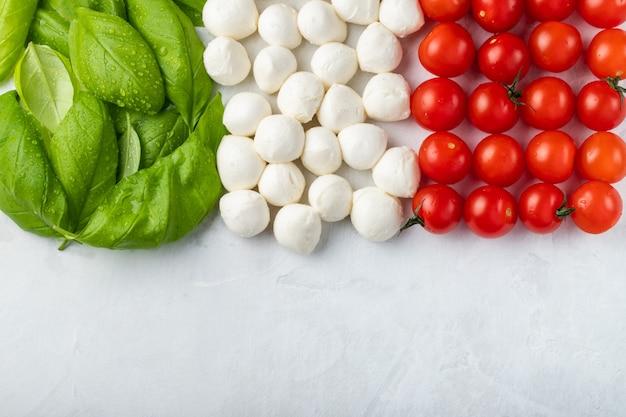 Italian flag made with tomato mozzarella and basil Premium Photo