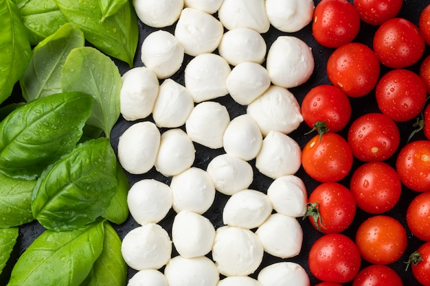 Italian flag made with tomato mozzarella and basil. Premium Photo