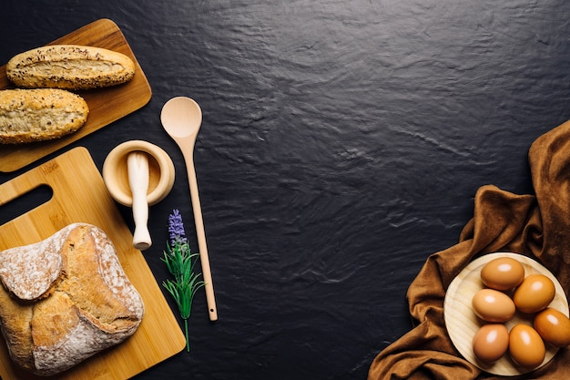 Italian Food Composition With Bread And Space In Middle Free Photo