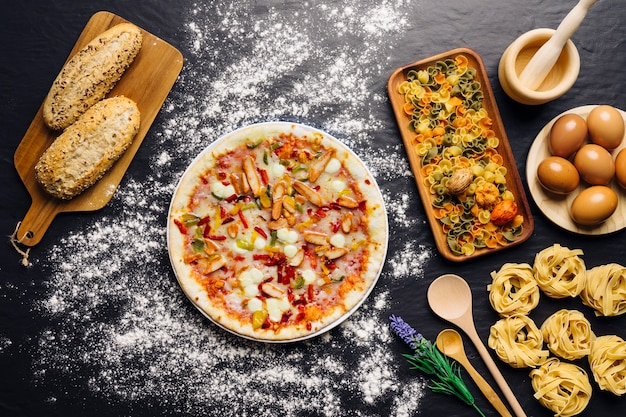 Italian food decoration with pizza bread and pasta photo for Italian decoration food