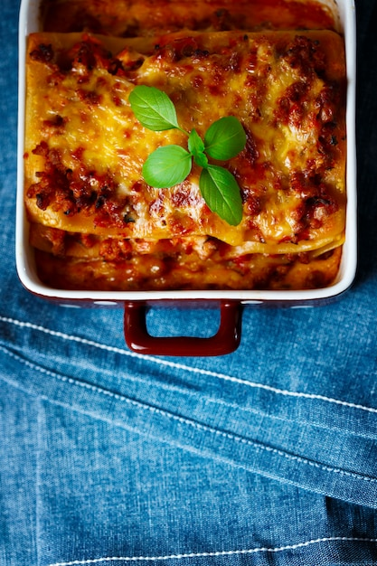 Italian food. lasagna plate. top view. Premium Photo