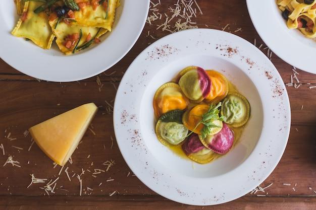 Italian food overhead shot Premium Photo