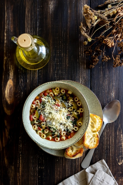 Italian minestrone soup. Premium Photo