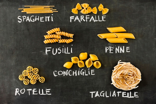 Italian pasta set on blackboard Free Photo