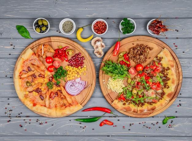 Итальянская пицца и ингредиенты для пиццы Premium Фотографии