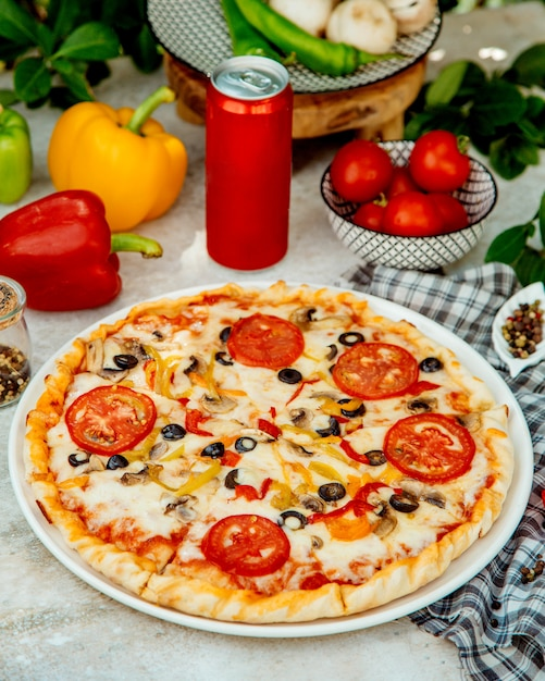 Italian pizza with mushroom, tomato, olive and bell pepper Free Photo
