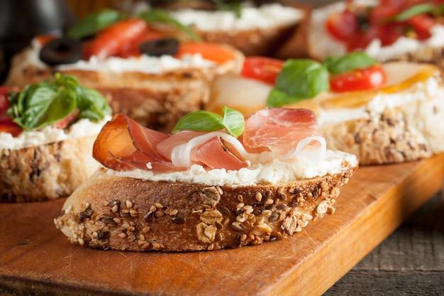 Italian tomato and cheese bruschetta Premium Photo