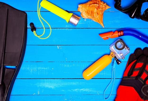 Items for underwater diving Premium Photo