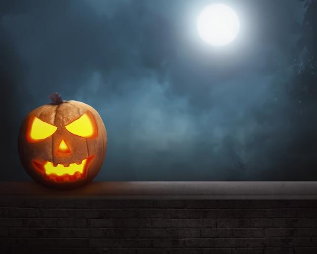 Jack o'lantern under the full moon Premium Photo