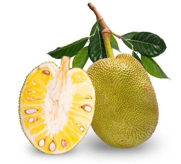 白い背景で隔離のパラミツ、新鮮なジャック、クリッピングパスと白い背景で隔離の果物。 Premium写真