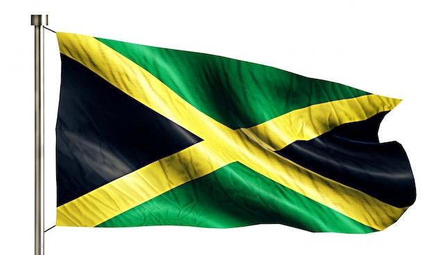 Jamaica national flag isolated 3d white background Free Photo