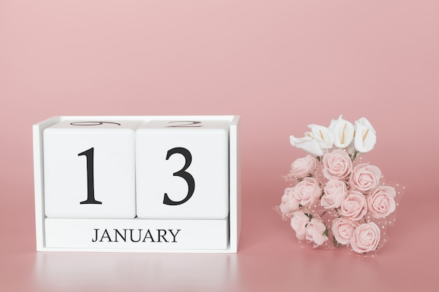 January 13th. day 13 of month. calendar cube on modern pink background Premium Photo