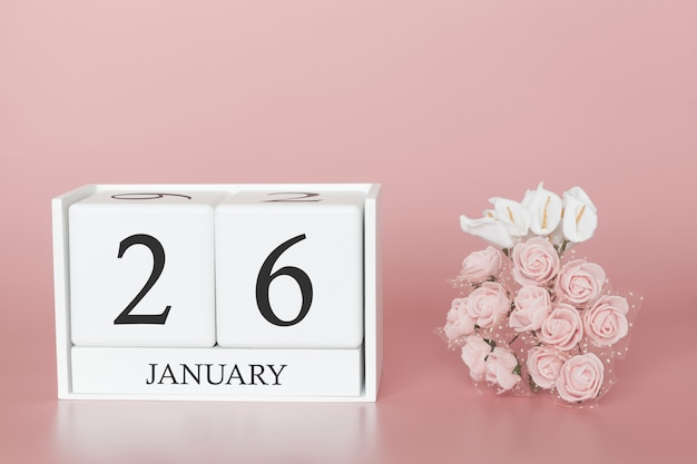 January 26th. day 26 of month. calendar cube on modern pink background Premium Photo