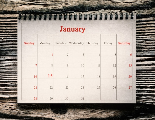 January  in the calendar on the wood background day martin luther king Premium Photo