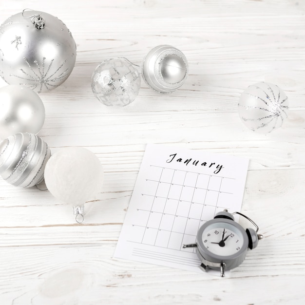 January planning on festive table Free Photo