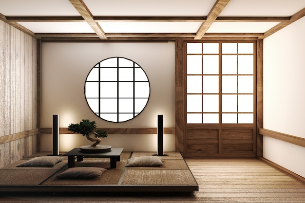 Japan interior design, modern living room. 3d illustration, 3d rendering Premium Photo