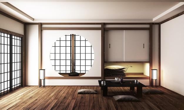Premium Photo | Japan interior design, modern living room.