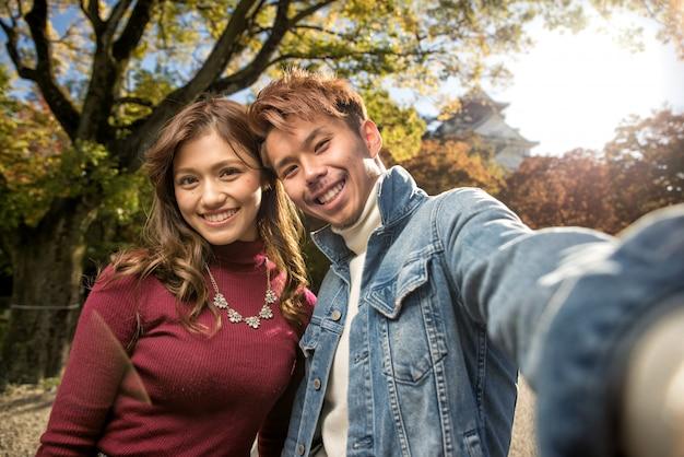 Японская пара влюбленных знакомства в осаке Premium Фотографии