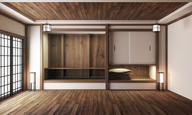 Japanese display room interior, wooden flooring on light white background. 3d rendering Premium Photo