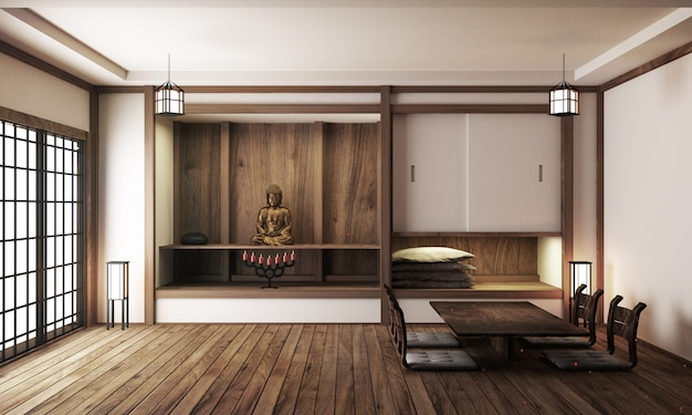 Japanese display room interior, wooden flooring on light white background. 3d rendering Premium Photo