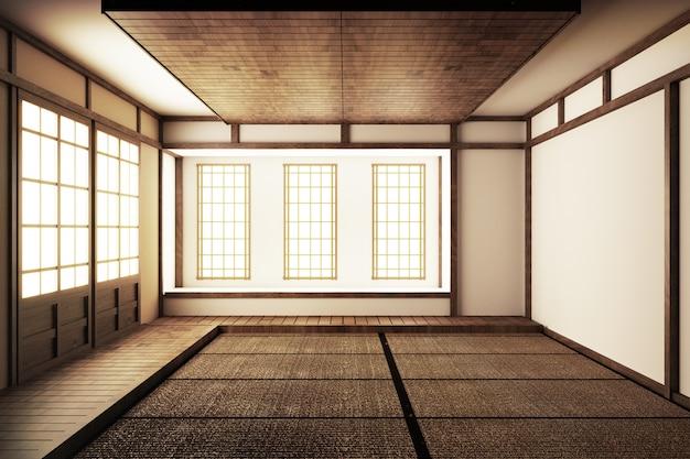 Japanese display room and tatami mat flooring .3d render Premium Photo