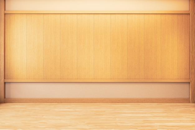 Japanese empty room wood on wooden floor japanese interior design.3d rendering Premium Photo