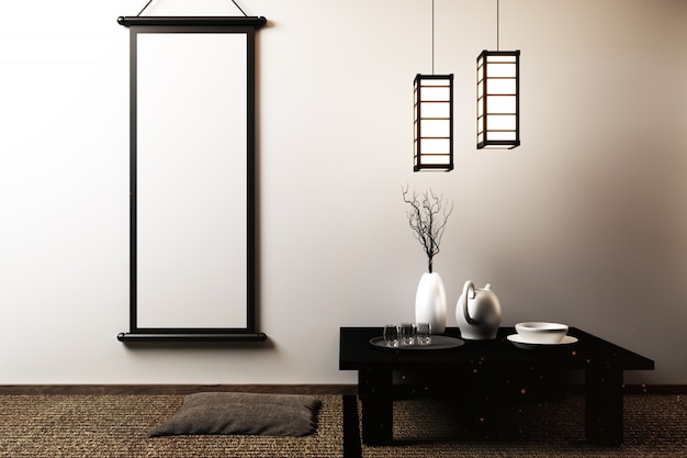Japanese living room with lamp, frame, black low table in room white wall Premium Photo