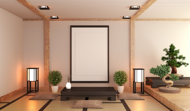 Japanese living room with lamp Photo | Premium Download