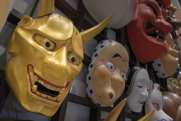 Japanese mask  decoration at souvenir shop Premium Photo