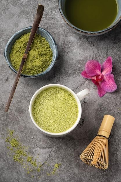 Japanese matcha green tea powder. Premium Photo