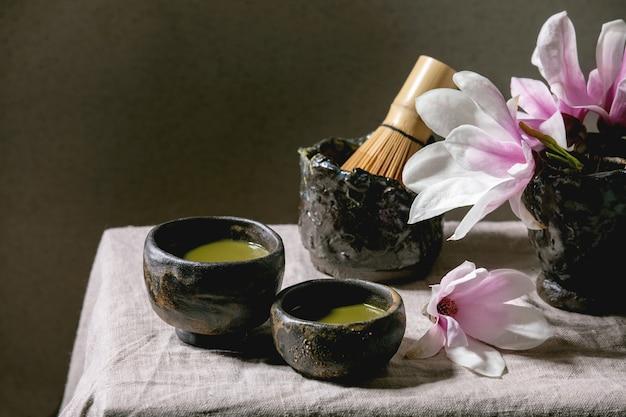 Japanese matcha green tea Premium Photo