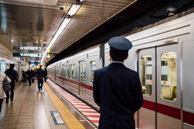 Japanese officer at train station Free Photo
