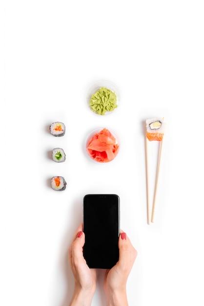 Japanese restaurant online order delivery Premium Photo