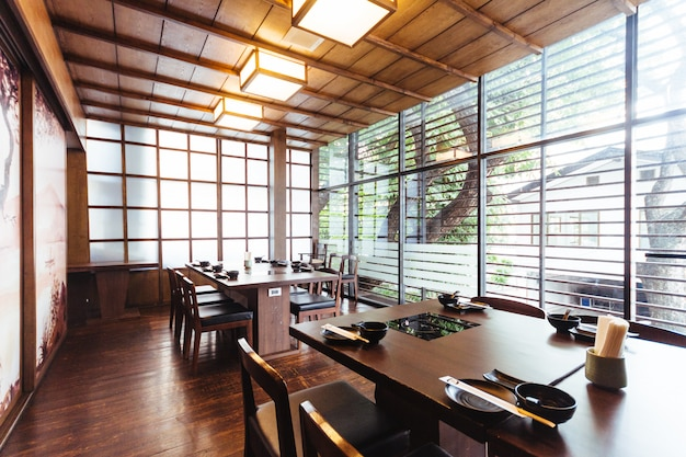 Japanese restaurant with wooden decorated. Premium Photo