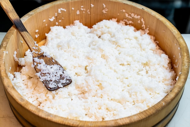 Japanese rice on big wooden bowl Premium Photo