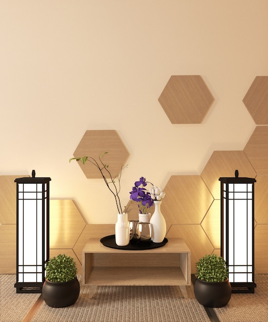 Premium Photo Japanese Ryokan Living Room Zen Style With Hexagon Tile On Wall And Tatami Mat Floor Decoration Japanese Style 3d Rendering