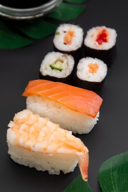 Japanese seafood sushi set on black Premium Photo