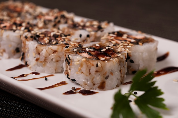 Japanese sushi, delicious asian food salmon fish dish meal, chinese meal, asian organic food, sea food Premium Photo