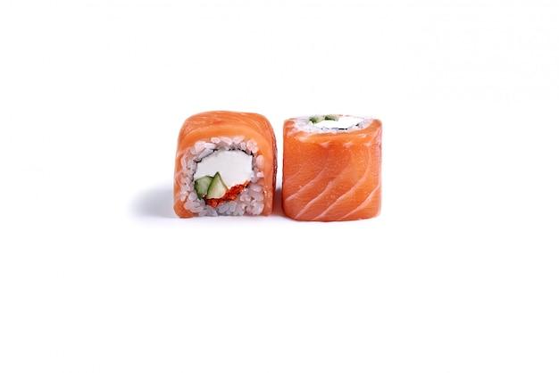 Japanese sushi rolls isolated on white Premium Photo