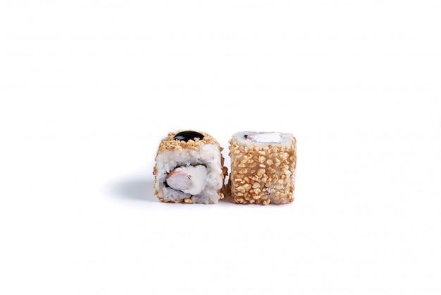 Japanese sushi rolls isolated on white. Premium Photo