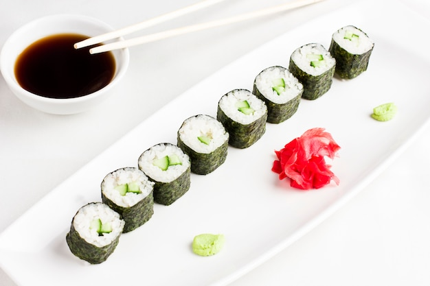 Japanese Sushi Rolls With Cucumber Serving With Soy Sauce