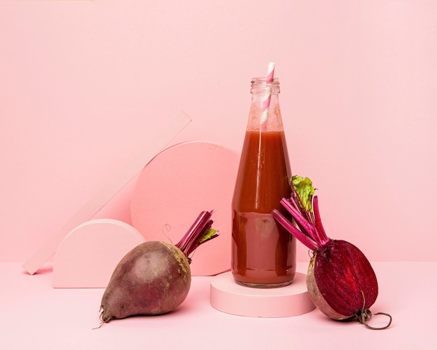 Jar with fresh smoothie of beetroot Free Photo