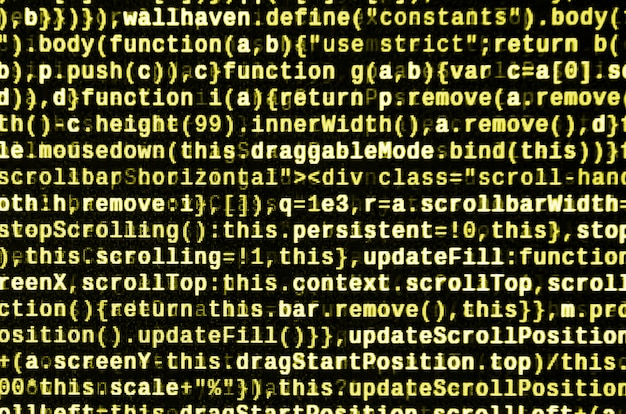テキストエディタのjavascriptコードサイバースペースの概念をコーディングします。 web開発コードの画面 Premium写真